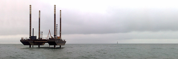 A jack-up rig carrying out geotechnical investigations on the Kish Bank.